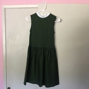 Anthropologie forest green dress size 2P